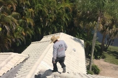 Inspecting tile roof with care