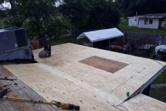 New plywood materials on patio roof