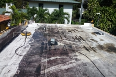 Washing flat roof