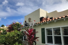 Tile roof being replaced