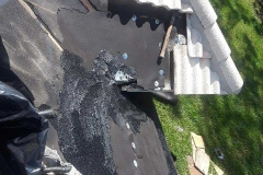 Tarpaper patching of roofing leak